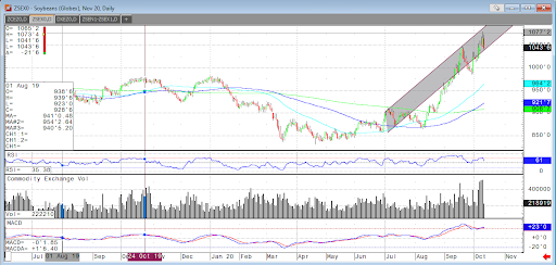 December Soybeans Daily Chart